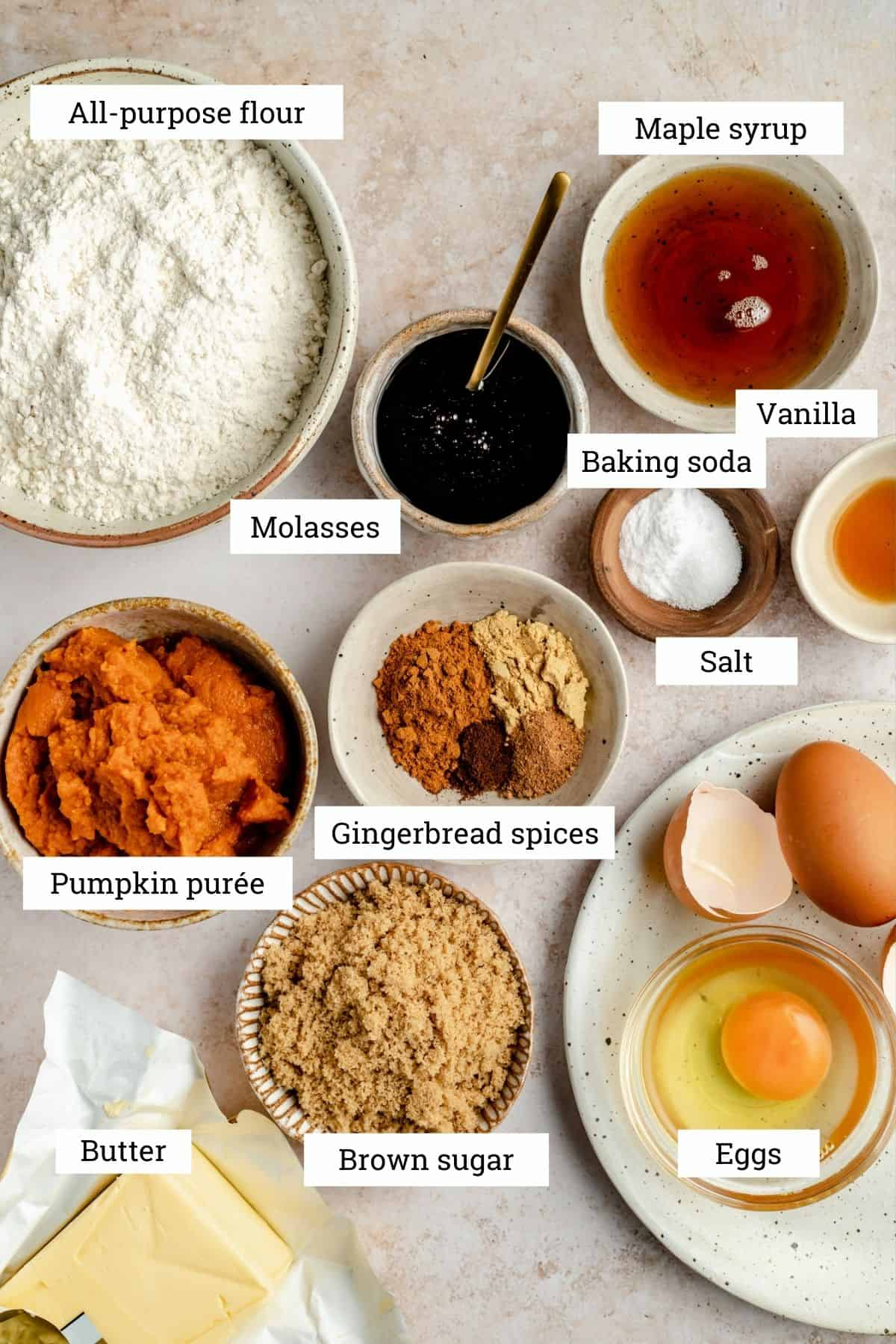Overhead photo of various bowls of ingredients from the recipe