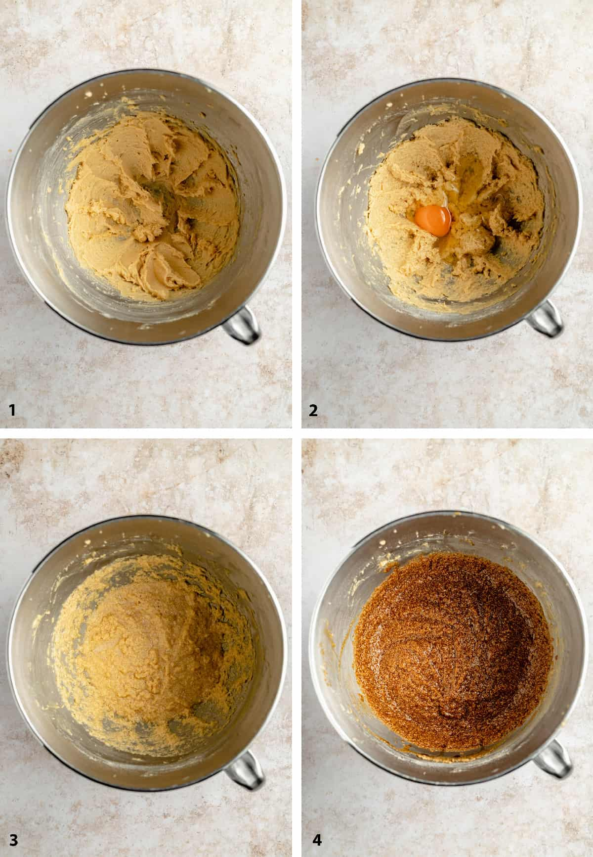 8 step process collage of making the pumpkin gingerbread showing the mixture at different stages of process