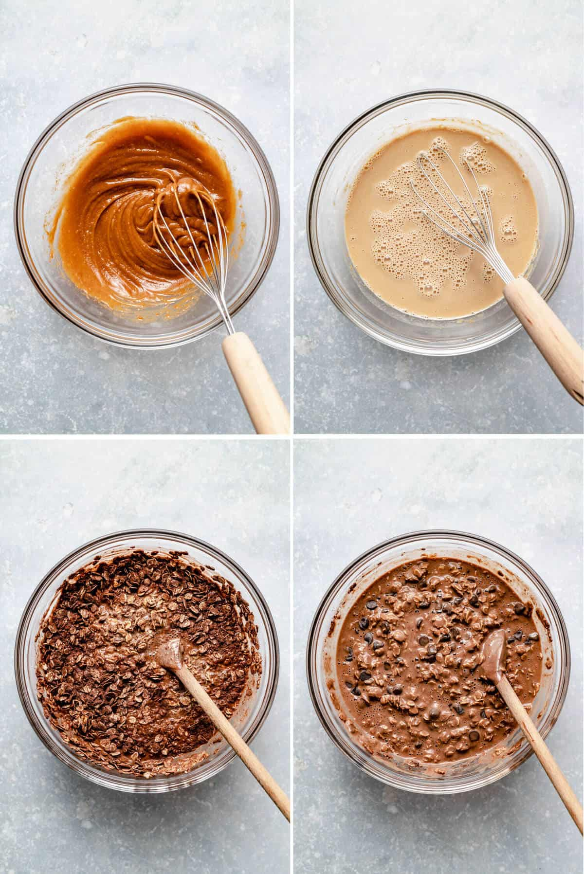 a collage of photos showing the steps of how to make baked oatmeal