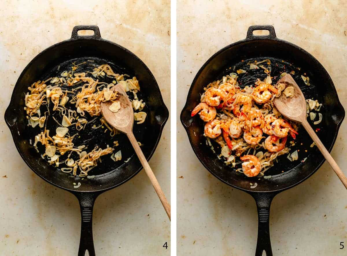 first two steps of making the lemon garlic shrimp pasta sauce