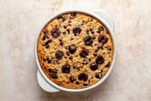 Golden topped baked oatmeal in baking dish