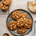 Oatmeal Cookies on a plate with biscoff and oats to the side