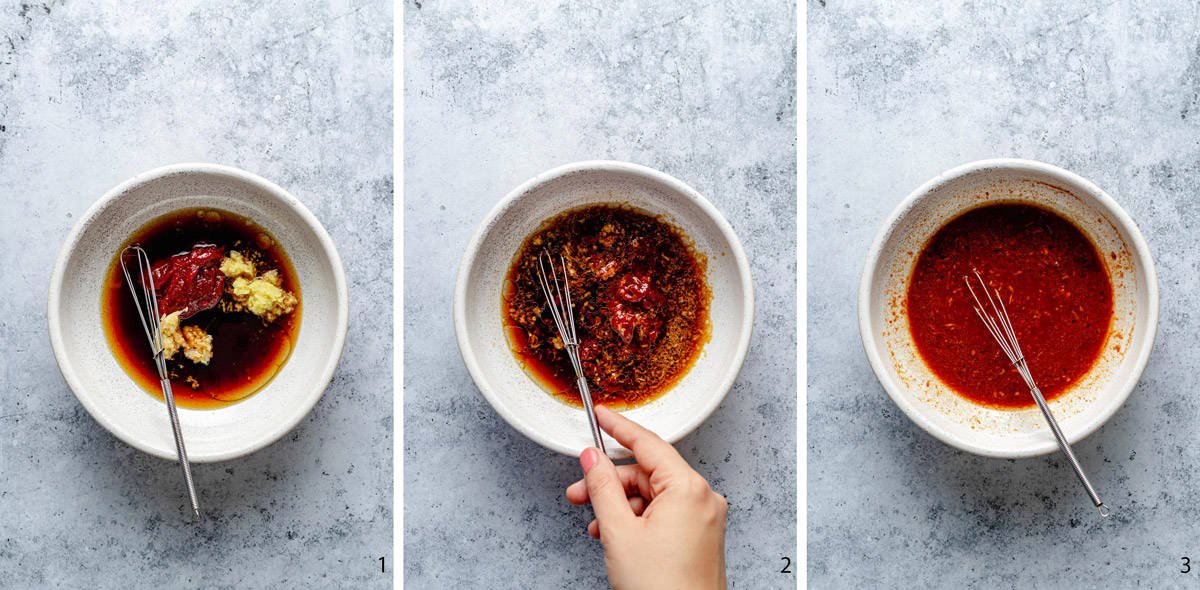 gochujang sauce process stages for the recipe