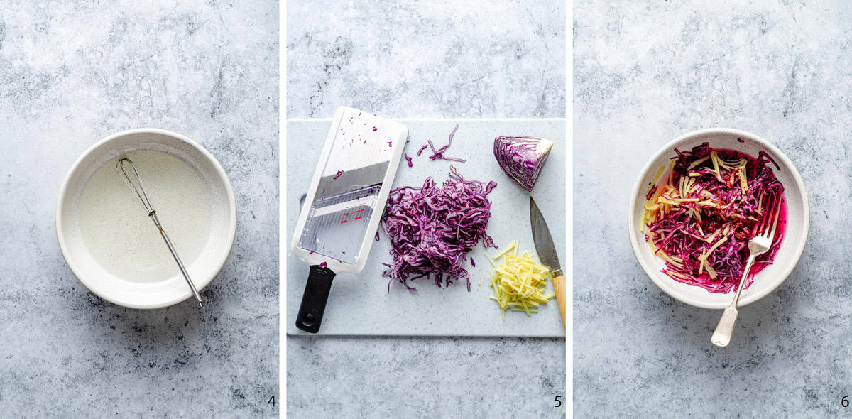 cabbage and ginger pickle process stages