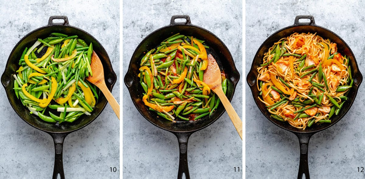 Stir fry process stages