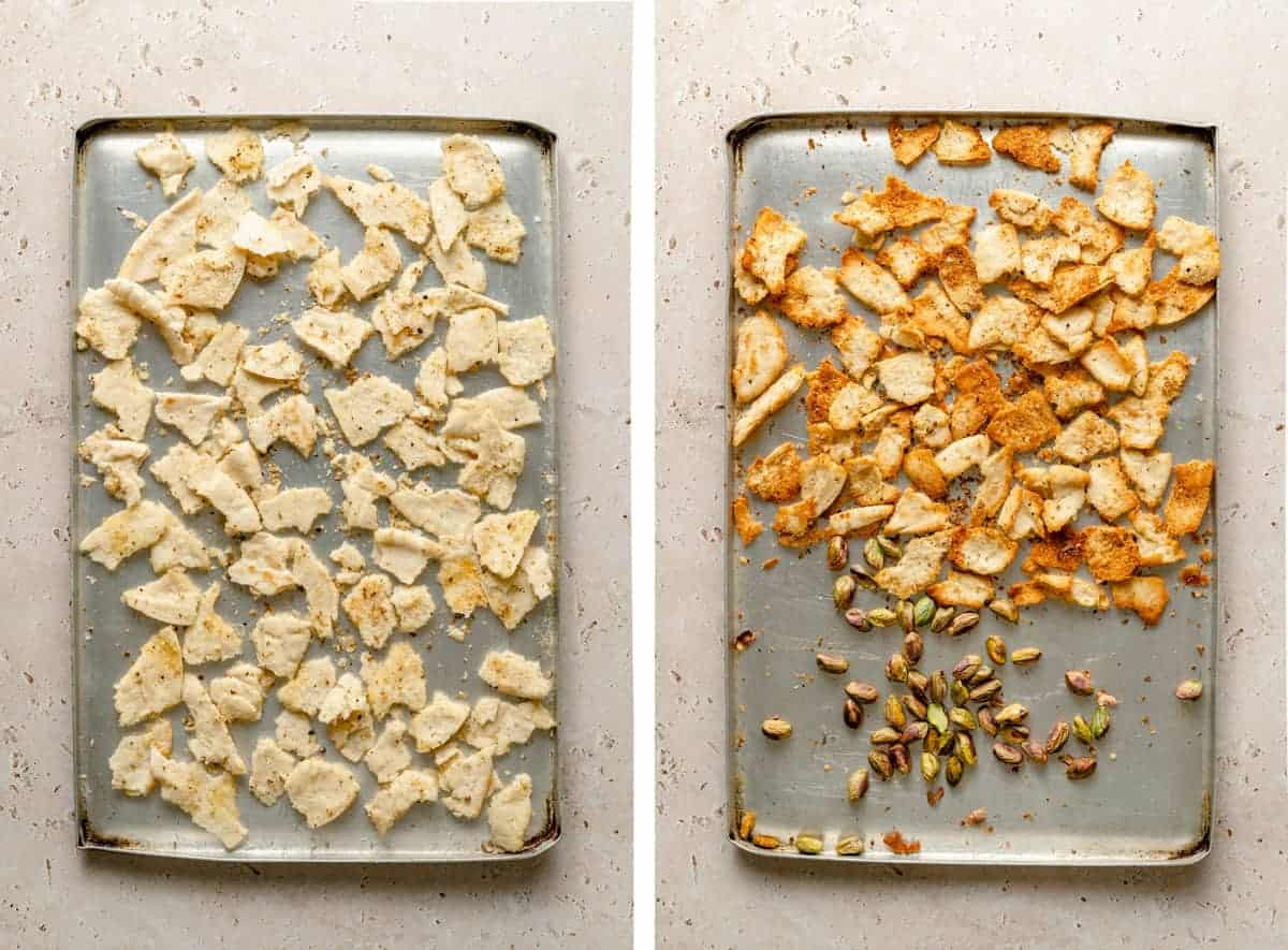 Process photos of baking pitta chips and roasted pistachios