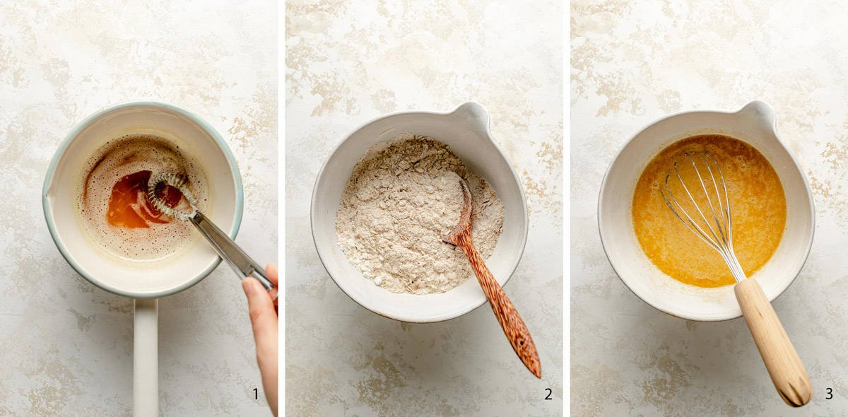 process steps to make the muffin batter
