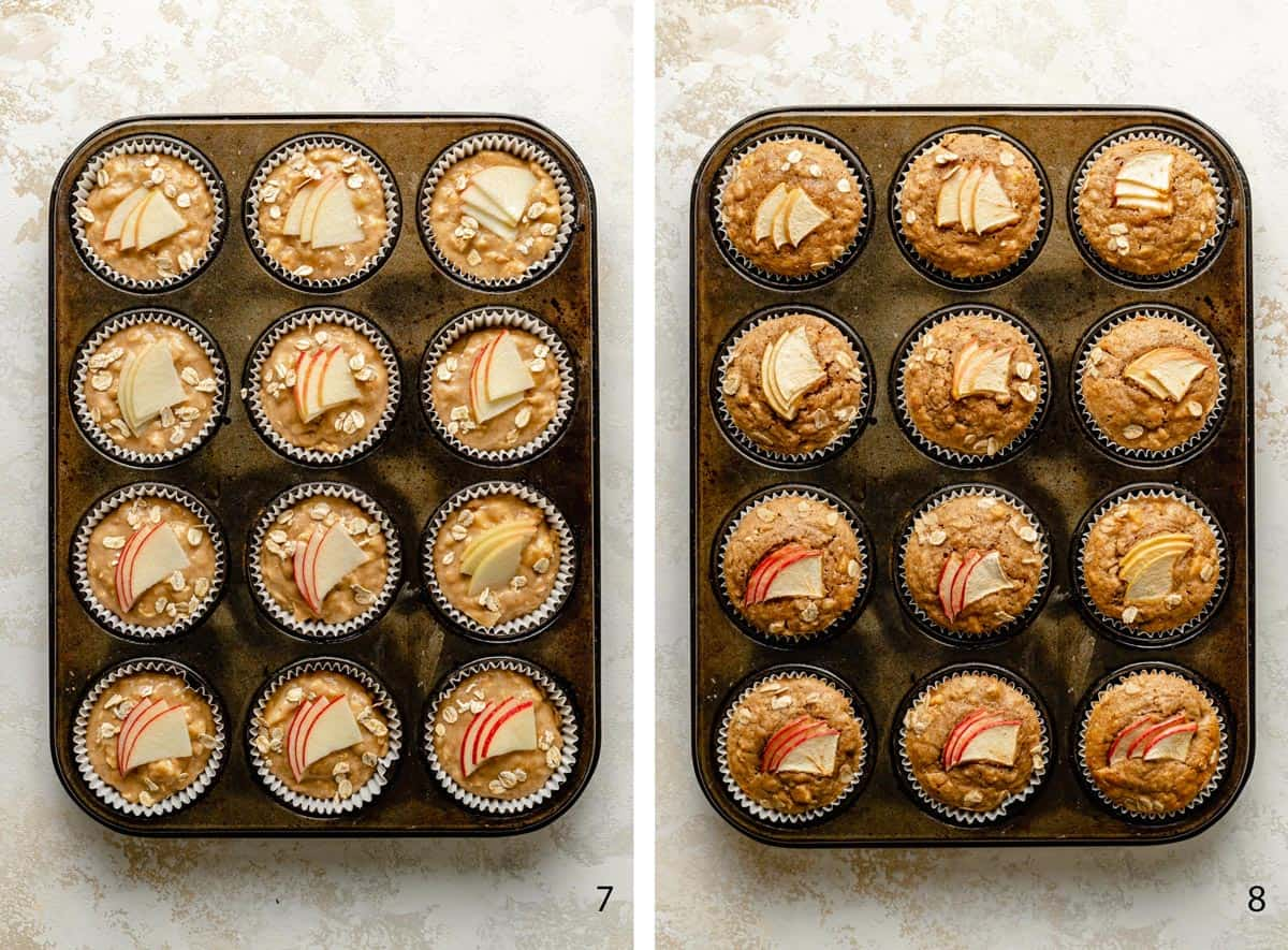 pre and post baking muffins in the tin
