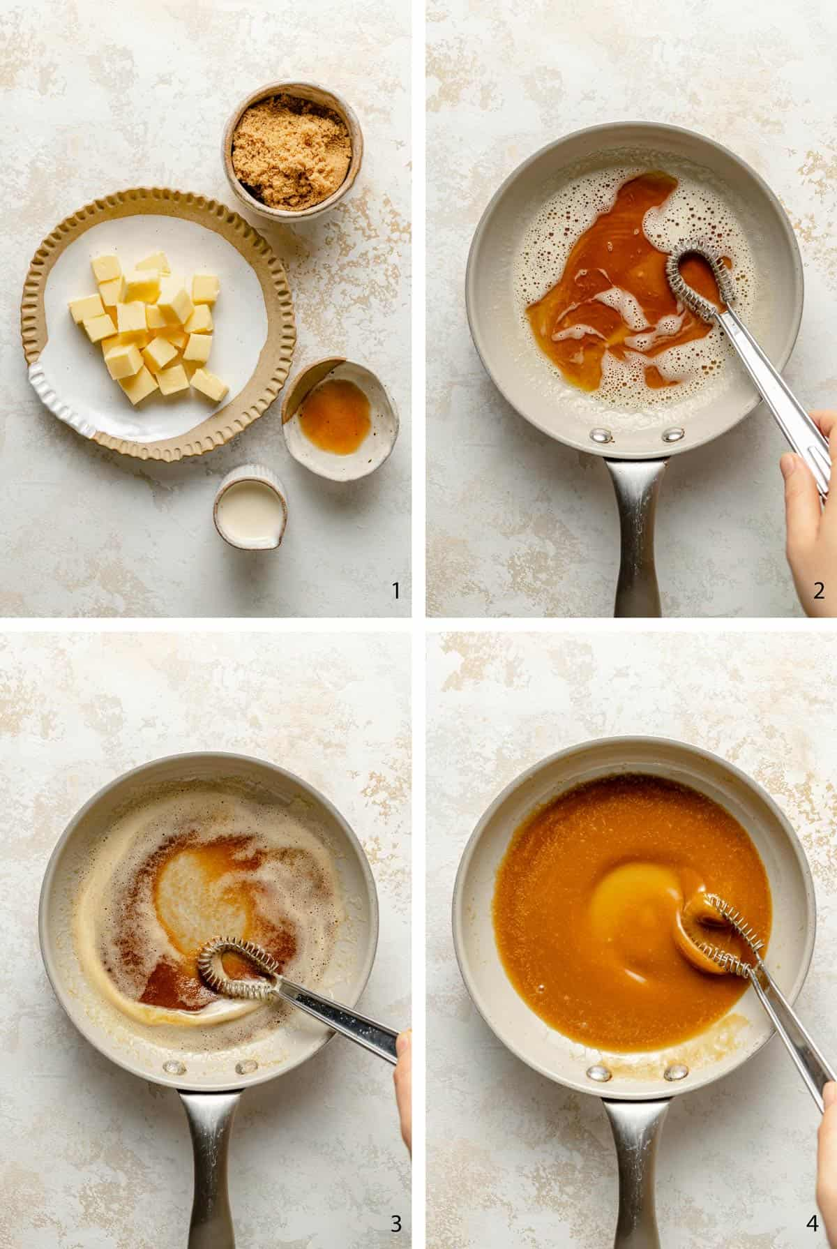 process steps of making brown butter caramel