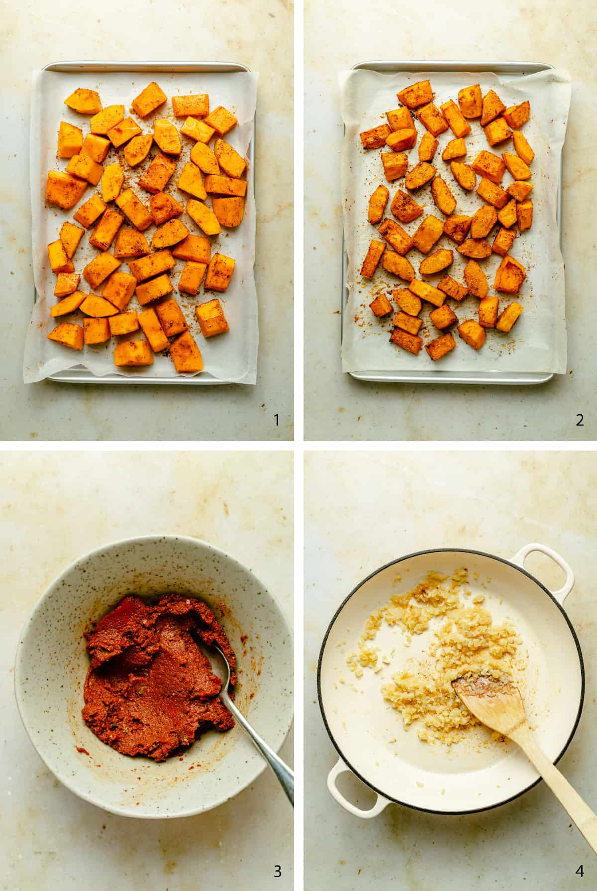 Process photos of roasted butternut squash and curry paste being made.