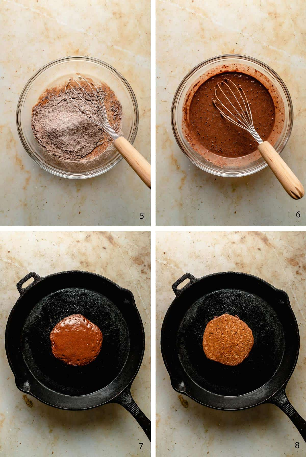 Process steps of cooking the pancakes with cocoa powder in a pan.