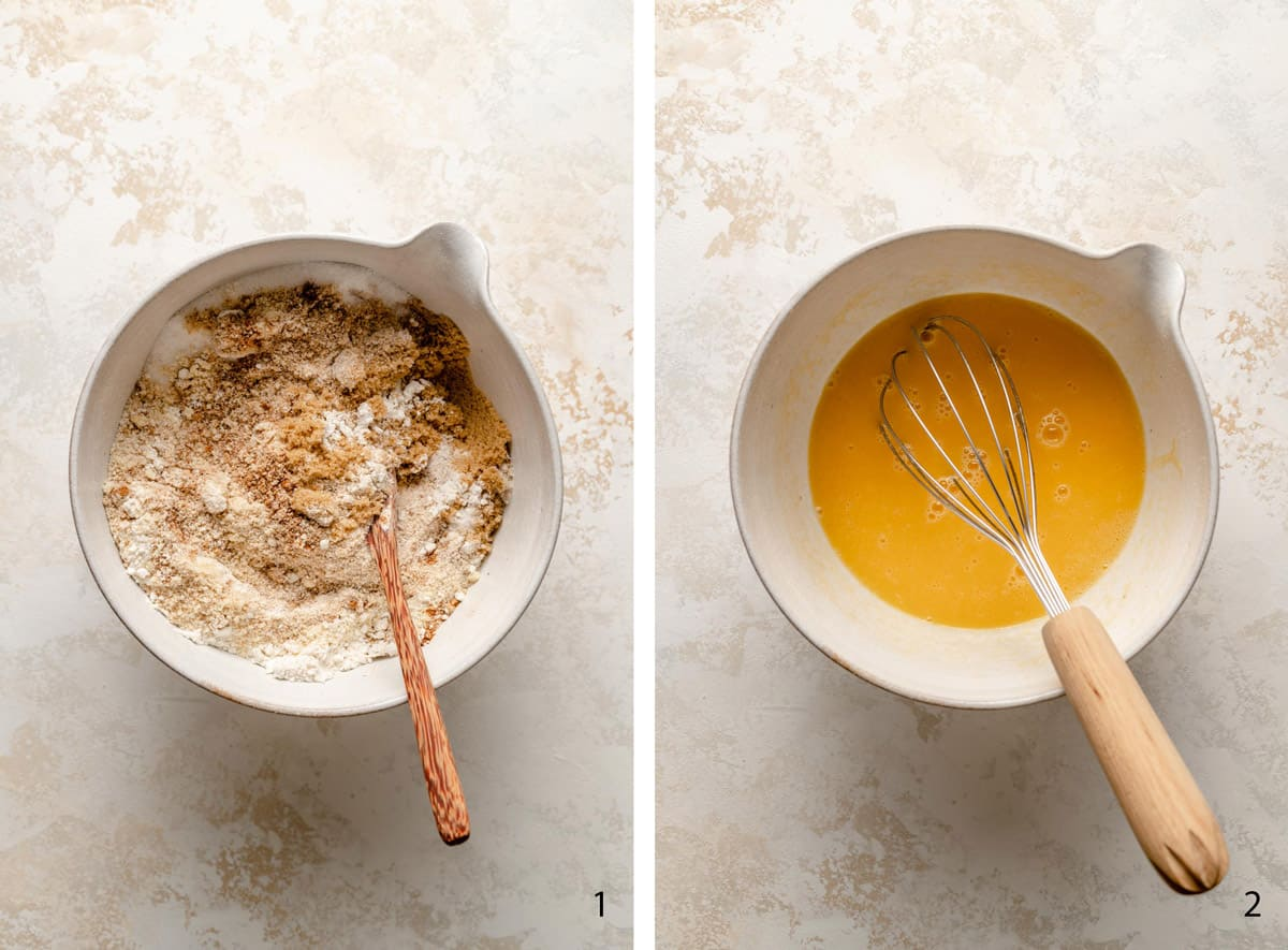 process steps to make the almond cake batter