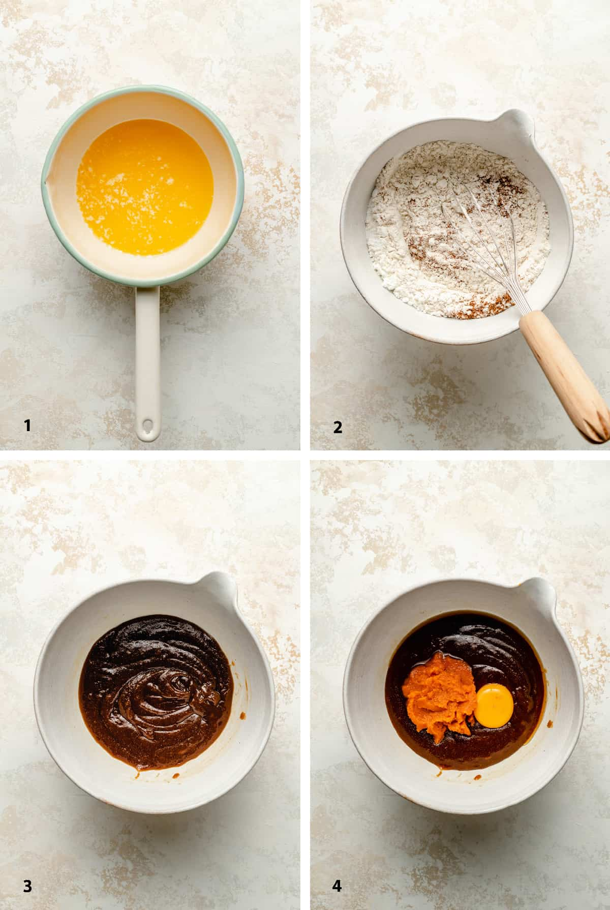 Process steps of making the cookie batter showing the texture of the melted sugars and butter.