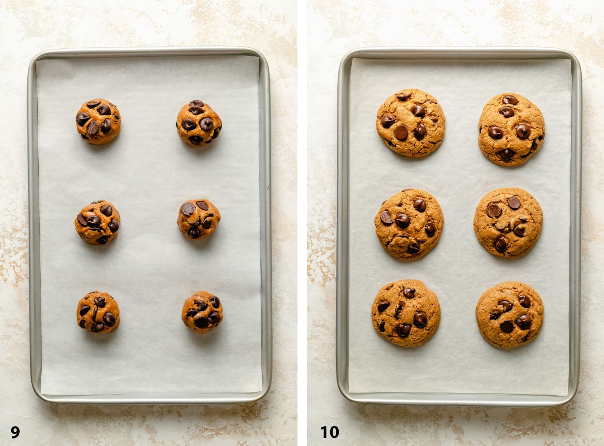 Pre and post baking cookies on a tray lined with parchment paper.