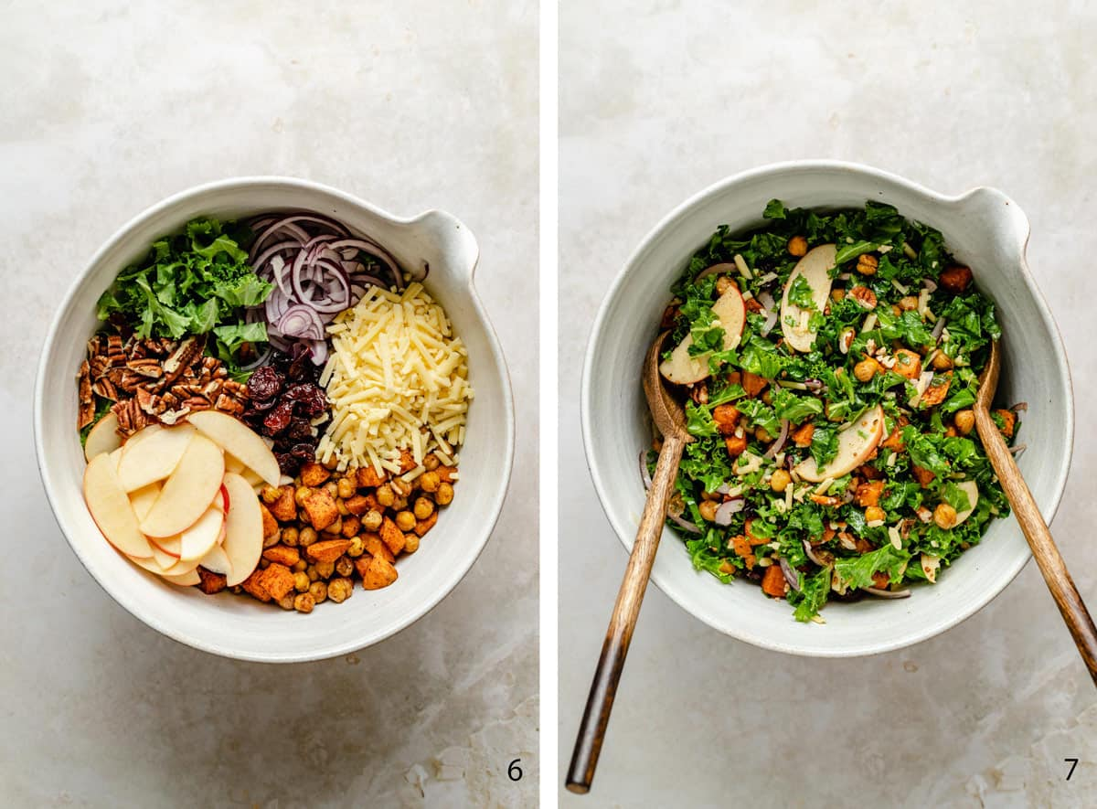 salad ingredients in a bowl and dressed in a bowl process