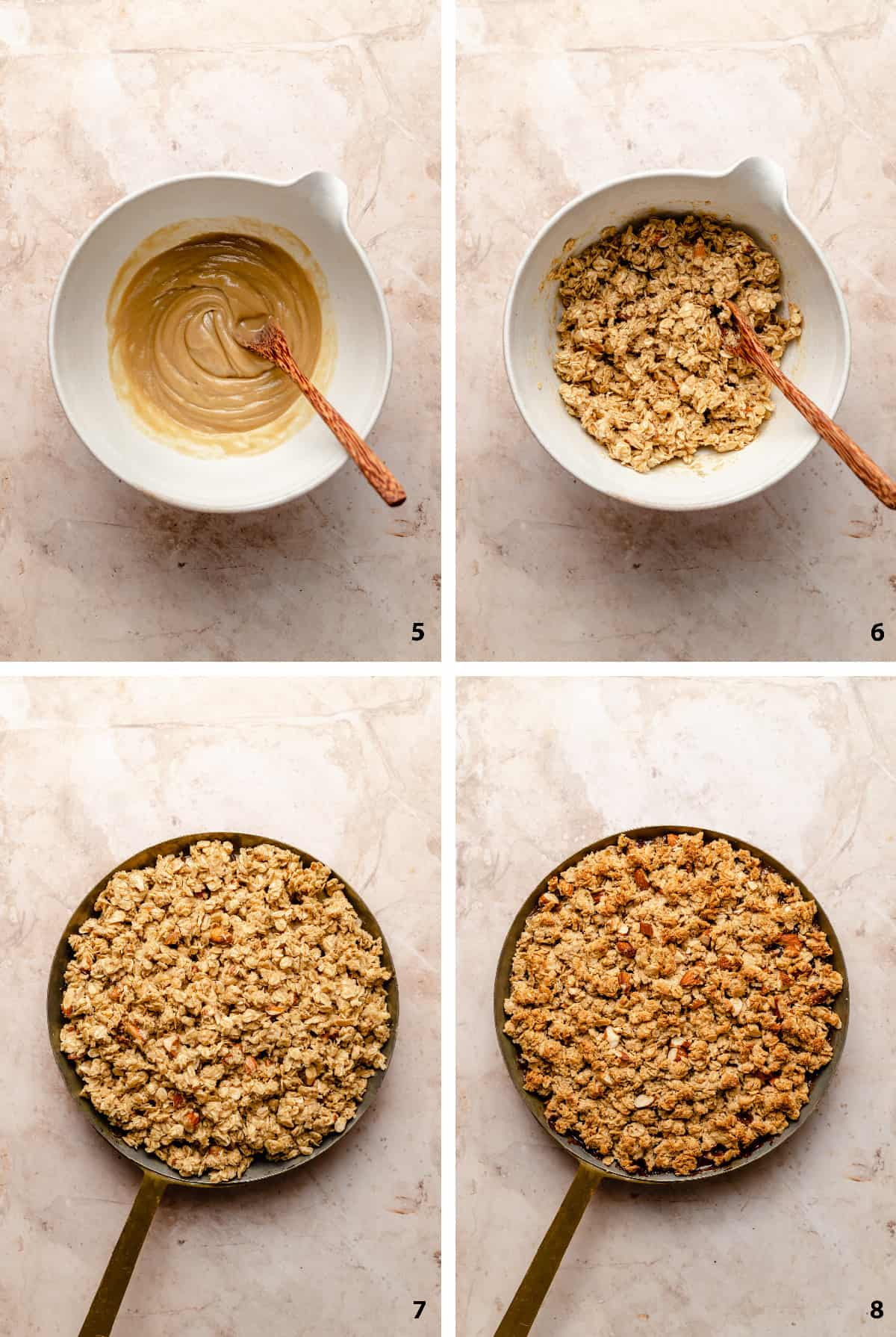 Process steps of making the oat and almond crumble topping, assembling the crumble and baked.