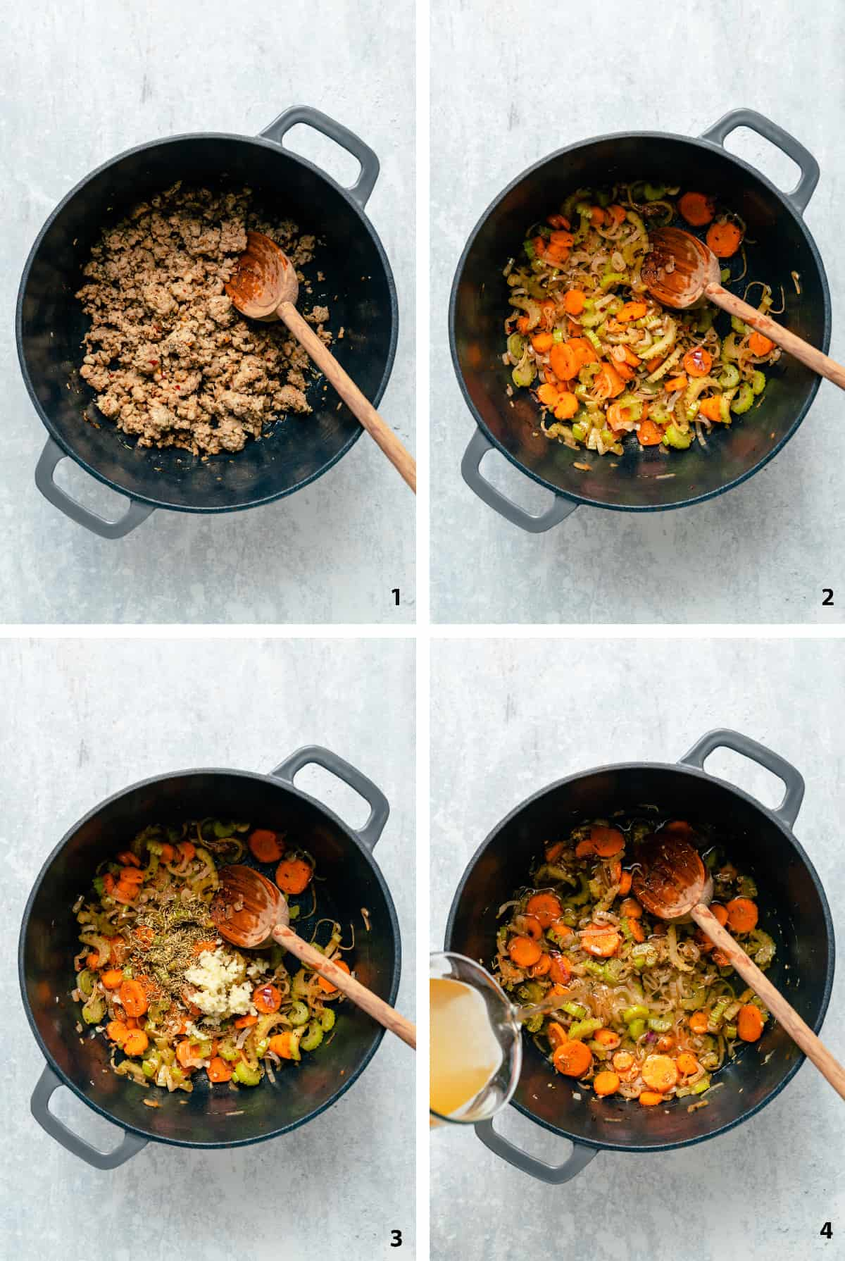 Process steps for browning sausage, sauteing vegetables, adding spices and adding stock.